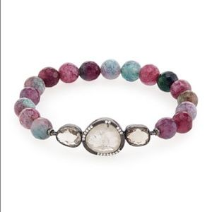 Tai Mauve Pink Glass Bead Station Bracelet